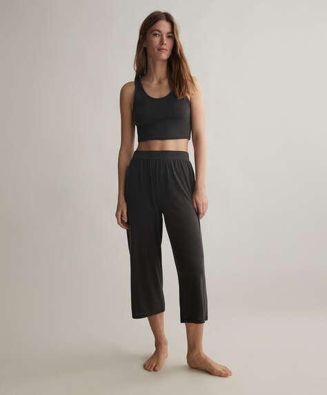 Pantalón culotte liso tacto suave