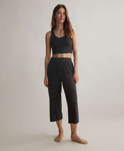 Plain soft touch culotte trousers