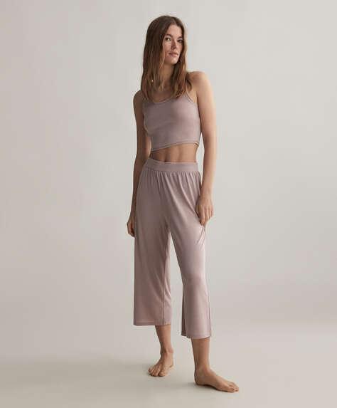 Calças culotte de cor sólida macias