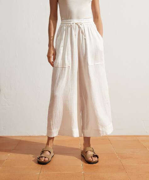 %100 pamuklu culotte pantolon