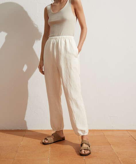 Льняные брюки с манжетами