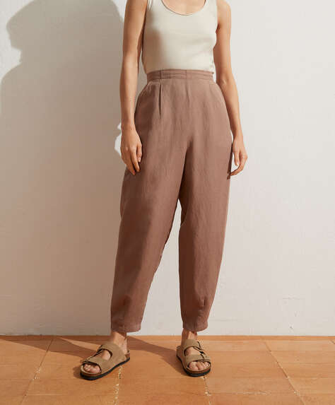 Slouchy pleated linen trousers