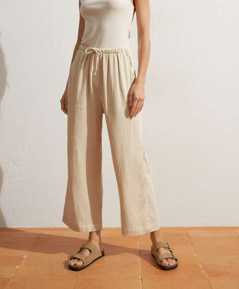 Pantalon long 100 % gaze de coton