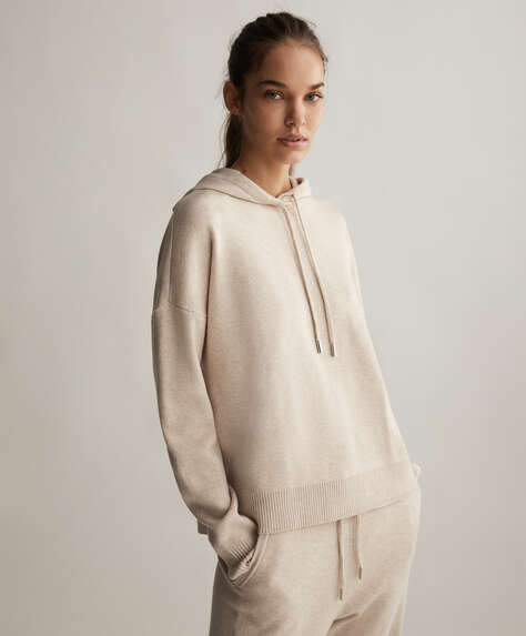 Hooded knit jumper