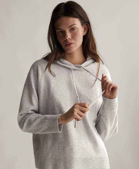 Hooded knit jumper