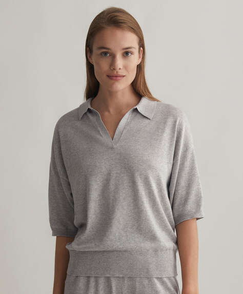 Knitted cotton and silk polo jumper
