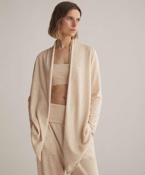 Casaco de malha, algodão e seda