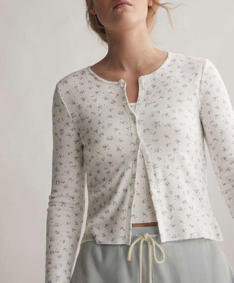 100% cotton ditsy floral cardigan