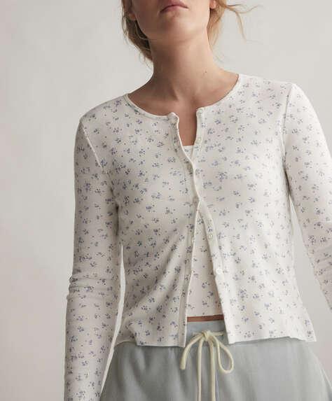 Casaco 100% algodão com florzinhas