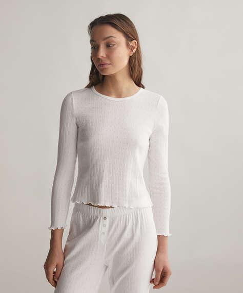 T-shirt 100% coton désaiguillé blanc