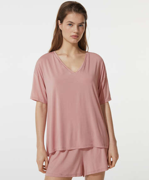Plain modal short-sleeved T-shirt