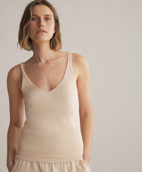 Knitted cotton and silk top