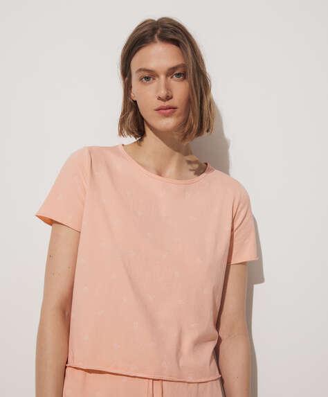 T-shirt curta 100% algodão com padrão Paisley