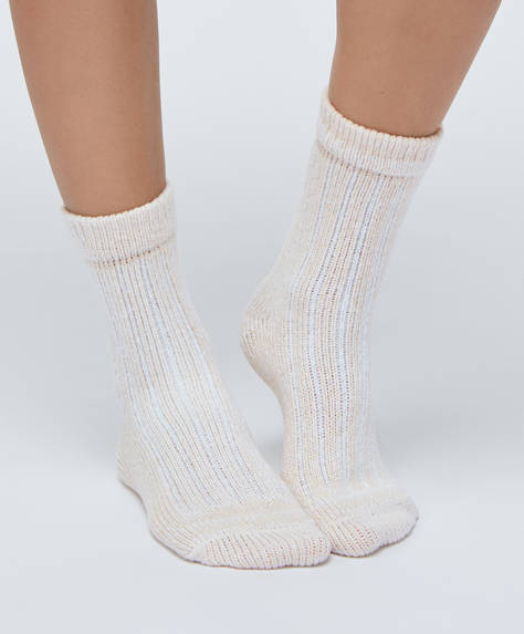 2 paires de chaussettes épaisses côtelées