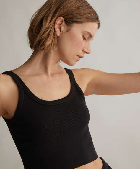 Ribbed organic cotton cropped vest top
