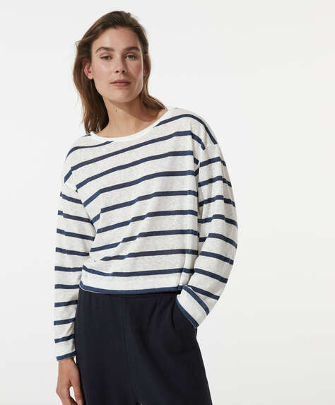 Stripe linen T-shirt