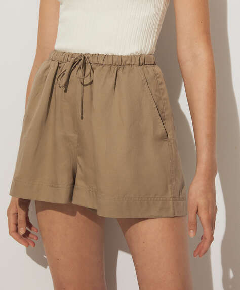 Tencel® and linen blend shorts