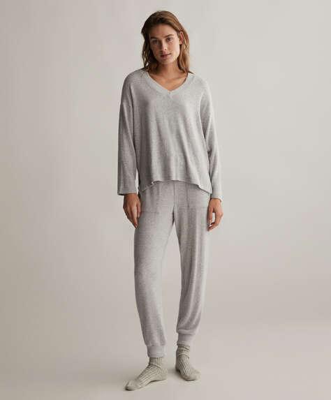 Spodnie ze ściągaczami przy mankietach nogawek comfort feel