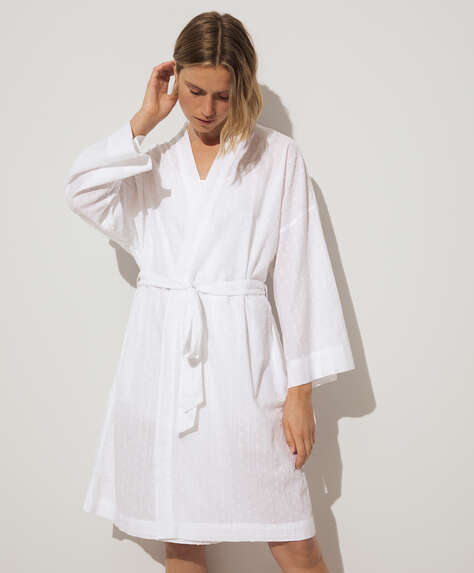 100% cotton plumeti dressing gown
