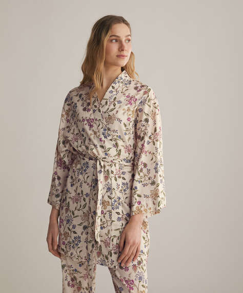 Boho floral ecru 100% cotton dressing gown