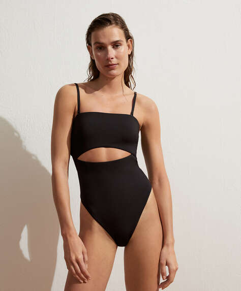 High-leg bandeau slit swimsuit