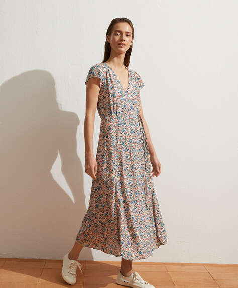 Long cottage floral dress