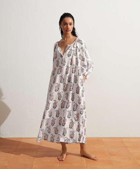 100% linen maxi-floral print kaftan