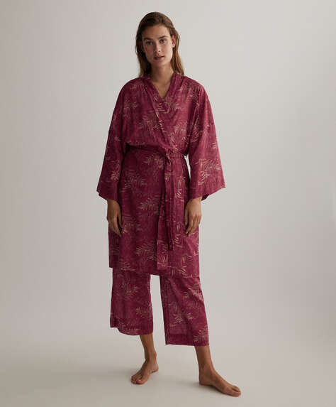 100% cotton sprig-print dressing gown