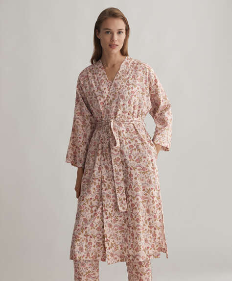 Pink floral 100% cotton dressing gown