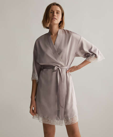 Lace and satin bath robe