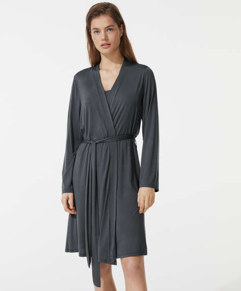 Plain modal dressing gown