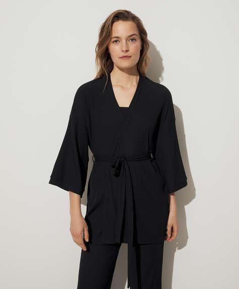 Rib lounge kimono dressing gown