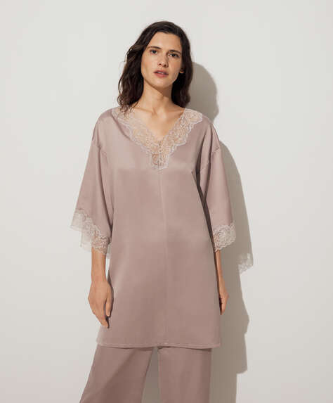 Lace satin kaftan