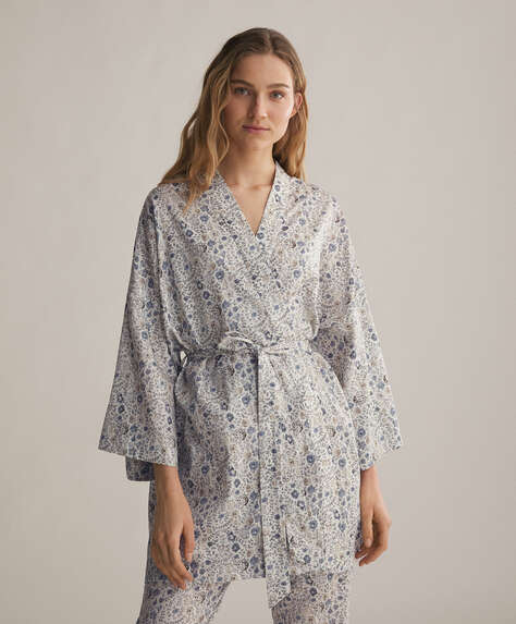 Blue 100% cotton ditsy floral dressing gown