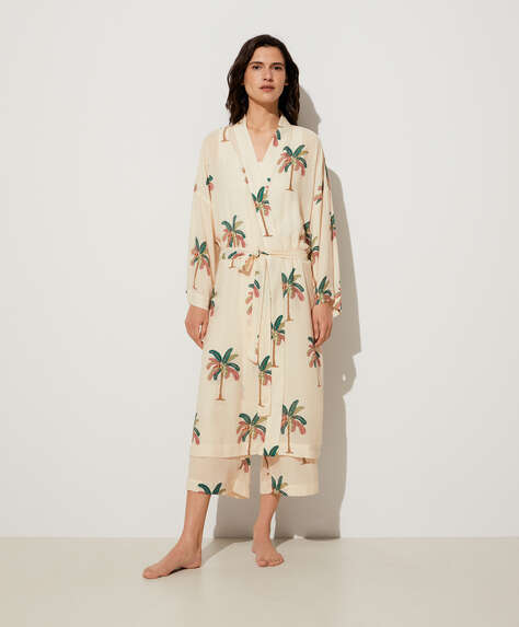 Palm tree dressing gown