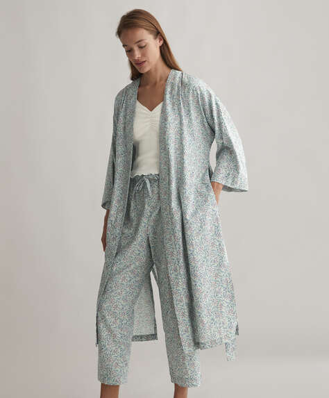 Green floral 100% cotton dressing gown