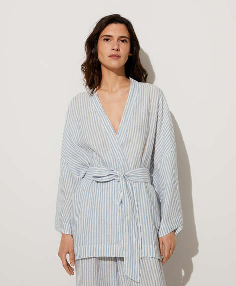 Blue stripe 100% linen dressing gown