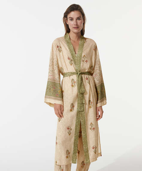 Indian print long dressing gown