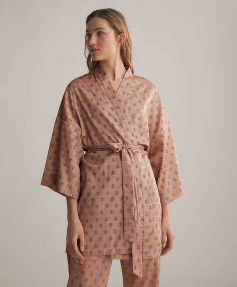 Stamp pink 100% cotton dressing gown