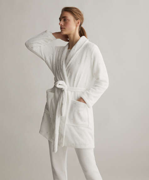 Dotty ecru soft dressing gown