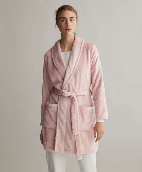 Plain pink soft dressing gown