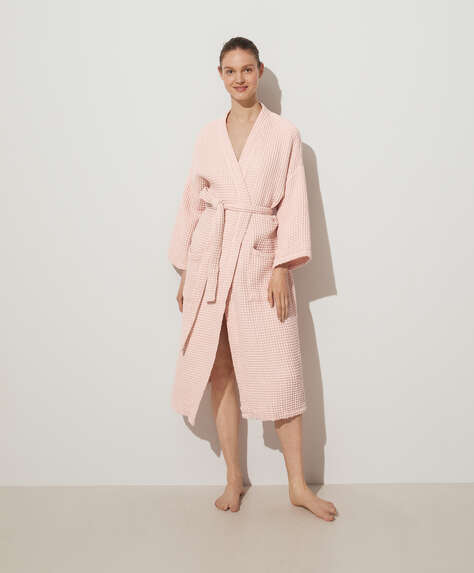 100% cotton waffle dressing gown