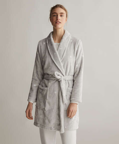 Grey soft dressing gown with hearts