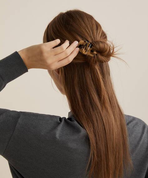 Squared tortoiseshell-effect hair clasp