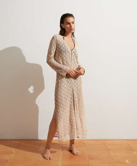 Long crochet open tunic in cotton