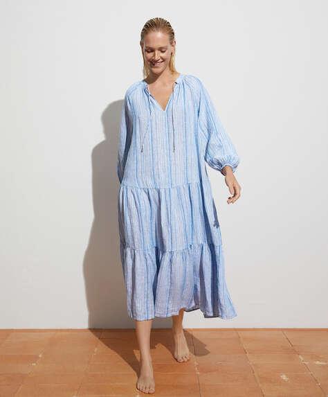 Kleid mit Streifenprint aus 100% Leinen