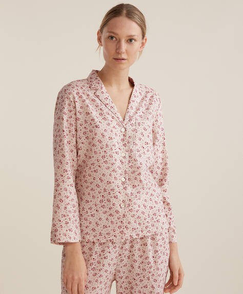 100% cotton red ditsy floral shirt
