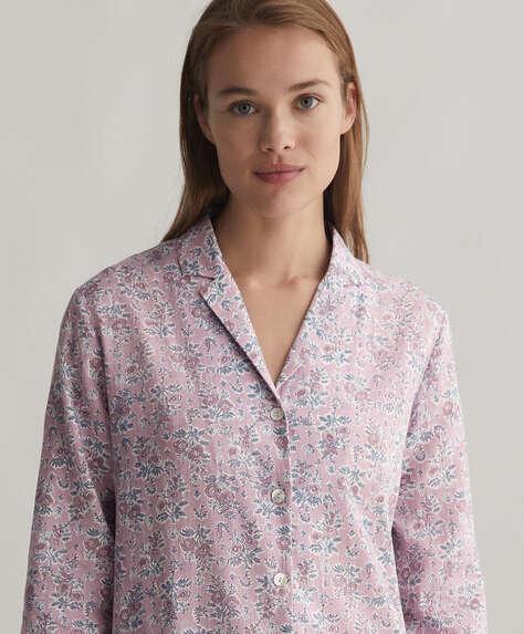 Chemise 100% coton à fleurs sur fond mauve