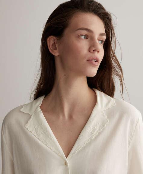 قميص 100% من القطن أبيض