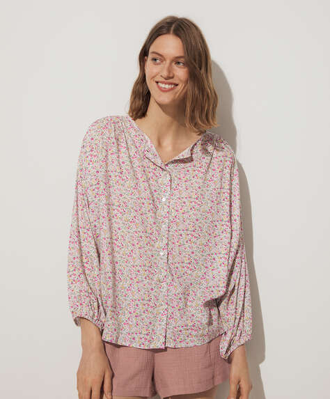 Pink ditsy floral wide sleeve shirt